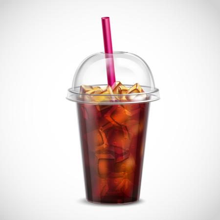 Cola con cubitos de hielo y paja en imagen realista de la taza de plástico clara para llevar en la ilustración de vector de fondo blanco