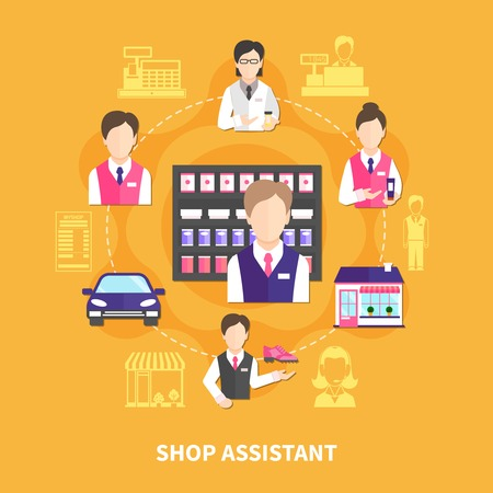 Salesman round composition with silhouette images and faceless icons of store attendants and cashiers in uniform vector illustration