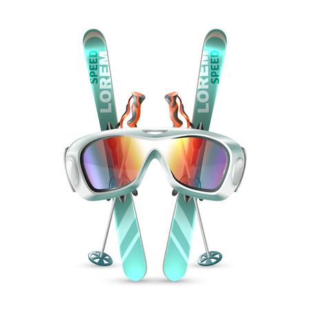 Gekleurd en geïsoleerd ski-clubpictogram dat met materiaalextremals wordt geplaatst op witte vectorillustratie als achtergrond