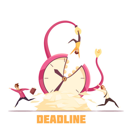 Deadline disaster warning cartoon composition poster with hanging from bursting clock and running away personnel vector illustration