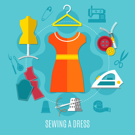 Sewing a dress concept with iron zip and cloth flat vector illustration Standard-Bild - 90216892