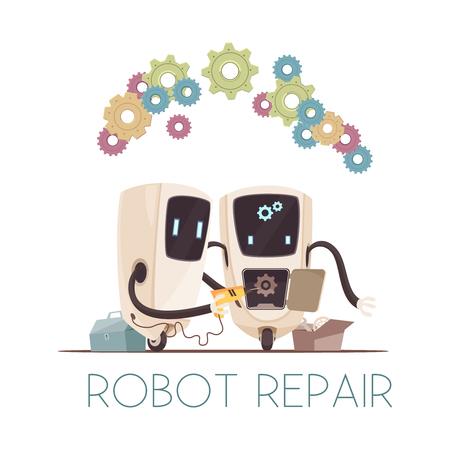 Next generation 2 autonomous collective robotic assistants performing reparation task cartoon composition with teamwork symbols vector illustration