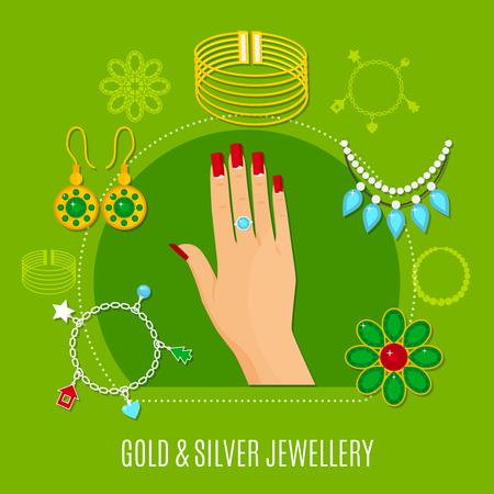 반지, 팔찌, 녹색 배경 벡터 일러스트 레이 션에 브로치와 여성 손을 포함 하여 금색과 은색 보석 조성 일러스트