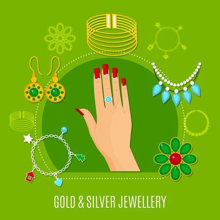 Gold and silver jewelry composition including female hand with ring, bangles, brooches on green background vector illustration