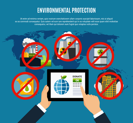 Environmental protection concept with clean planet symbols flat vector illustration