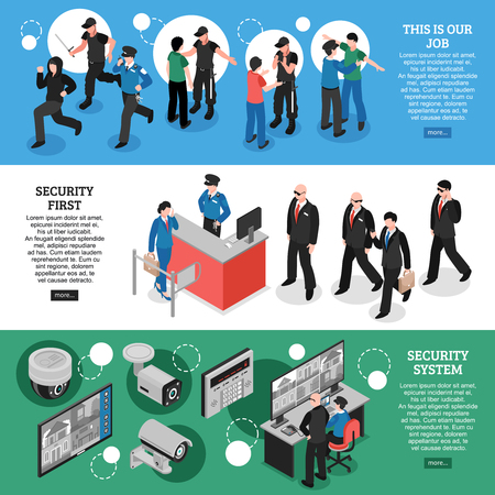 Set of horizontal isometric banners with work of guards, security system, professional equipment isolated vector illustration