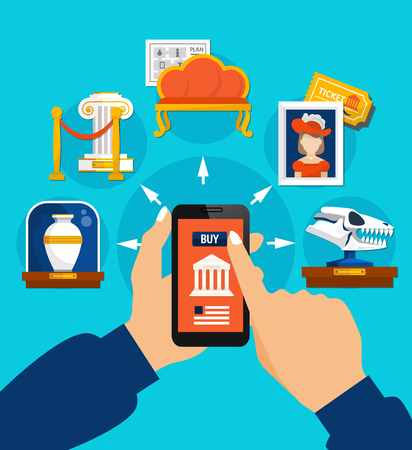 Visit to museum flat design concept with elements of exposition and people hands holding gadget with online ticket buy app vector illustration