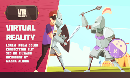 Virtual reality glasses advertisement poster with medieval ridder in armor duel with player scene cartoon vector illustration Vectores