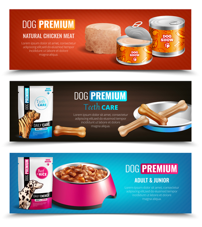 Set of three premium dog food horizontal banners with images of product package and filled dish vector illustration