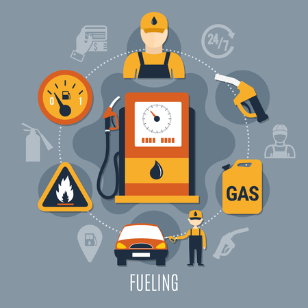 Fuel pump concept with icon set combined in big circle and flat elements vector illustration