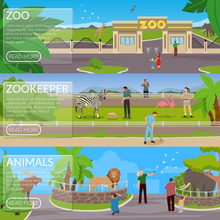 Zoo flat horizontal banners with visitors animals in cages and zookeepers involved in cleaning area and pet care vector illustration Illustration