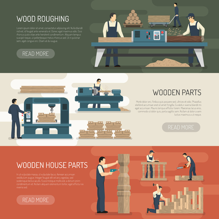 Woodworking horizontal banners set of woodworker carpenter characters and wooden parts with text and read more button vector illustration