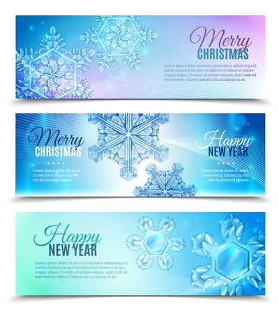 Three horizontal realistic snowflake banner set with marry Christmas and happy new year vector illustration