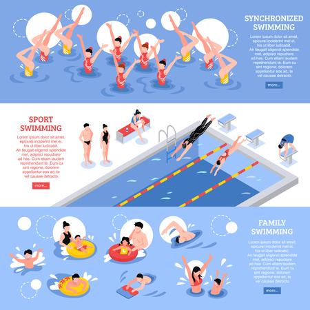 Isometrische zwemmende die sportbanners met menselijke karakters van gesynchroniseerde zwemmers en familieleden in pool vectorillustratie worden geplaatst