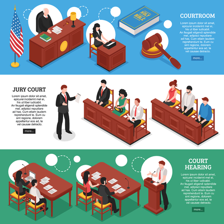 Three horizontal banners on law theme with court hearing courtroom and jury court isometric compositions vector illustration