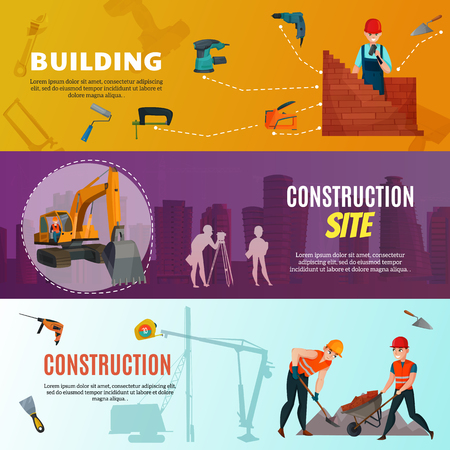 Set of horizontal banners with building site, construction workers with materials and tools isolated vector illustration Ilustracja