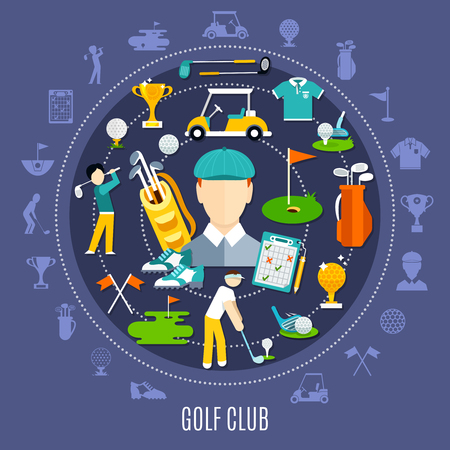 Golf club round composition including icons with game equipment and players on dark blue background vector illustration