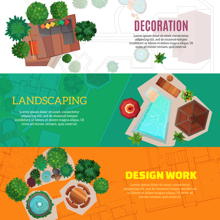 City landscape horizontal banners with top view elements of house decoration and park design work flat vector Illustration