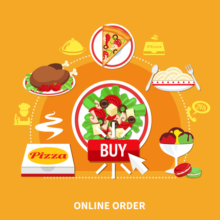 Pizza online order round composition with flat isolated images of various restaurant dishes and silhouette pictograms vector illustration