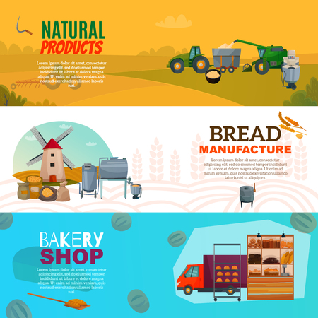 Set of horizontal banners with natural products, bread manufacture and bakery shop isolated vector illustration