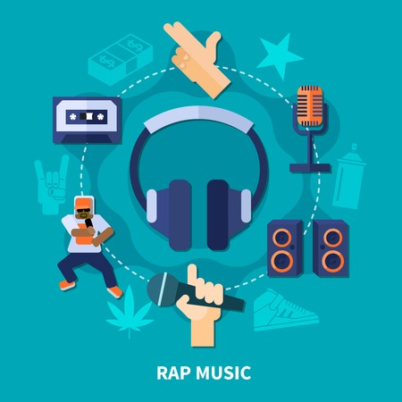 Rap music round composition with gestures of rapper, headphones, microphones, loudspeakers on turquoise background flat vector illustration