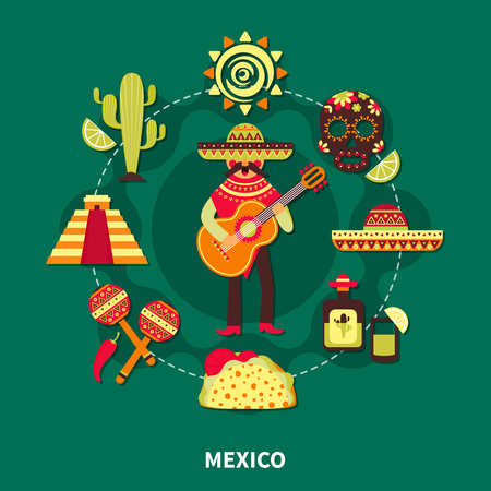 Travel to mexico and mexican traditional costumes musical instruments drink architecture flat vector illustration