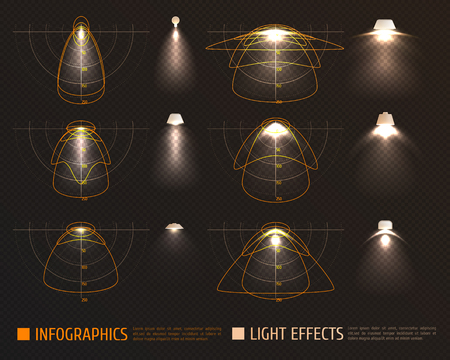 Light effects infographics with bulbs, lampshades and schemes measurements of illumination intensity on transparent background vector illustration