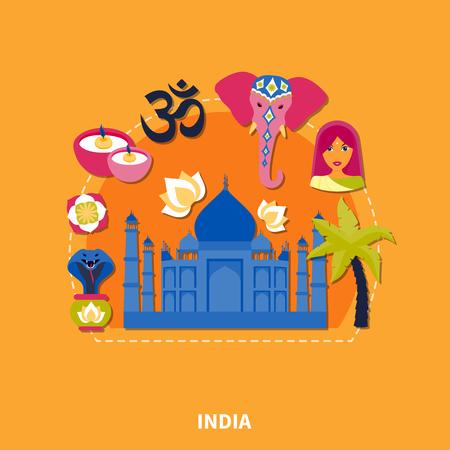 평면 디자인 여행 인도 배경에 다채로운 전통 인도 기호 벡터 일러스트 레이 션