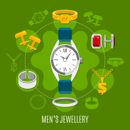 Mens jewelry round composition with hand watches, gold and silver studs, rings on green background vector illustration Çizim