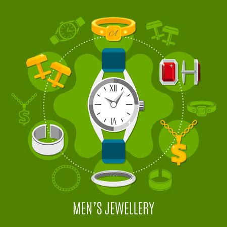 Runde Zusammensetzung des Herrenschmucks mit Handuhr-, Gold- und Silberstiften, Ringe auf grüner Hintergrundvektorillustration Standard-Bild - 90263030