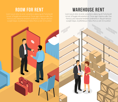 Real estate agency vertical banners with clients and agents demonstrating  room and warehouse for rent isometric vector illustration