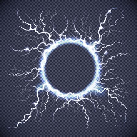Imagem realista do círculo elétrico loop relâmpago atmosférica raio luminoso na ilustração vetorial de fundo transparente escuro