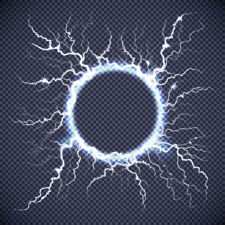 Luminous electric circle loop lightning atmospheric phenomenon realistic image on dark transparent background vector illustration Çizim