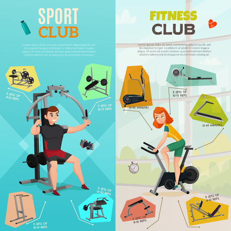 Vertical banners with people and exercise equipment of sport club on pastel background isolated vector illustration