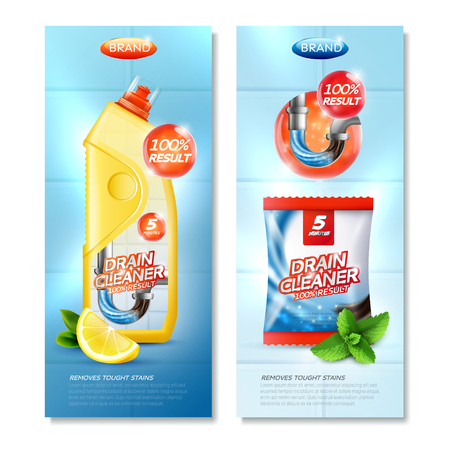 Drain cleaner vertical advertising banners set with realistic images of product packages lemon and mint slices vector illustration