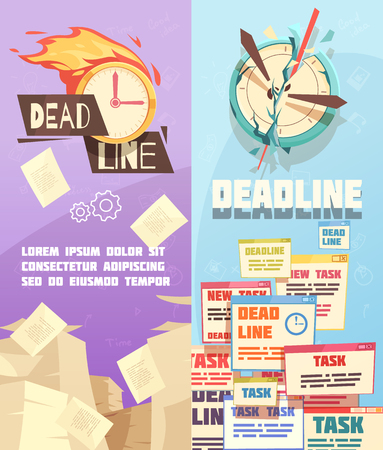 Business projects tasks deadline 2 vertical cartoon banners with symbolic target and burning alarm clock isolated vector illustration Ilustração
