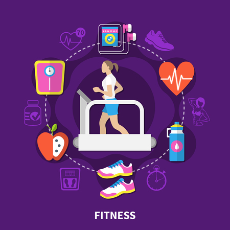 Fitness round composition with running woman at treadmill, scales, music player on purple background flat vector illustration