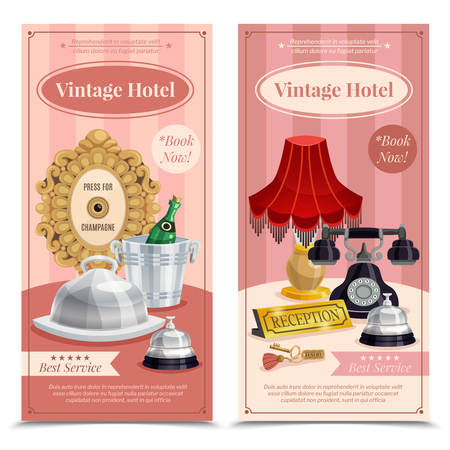 Two colored vintage hotel vertical banner set with best service book now descriptions vector illustration