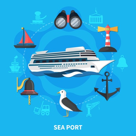 Sea port concept with ship seagull and anchor flat vector illustration