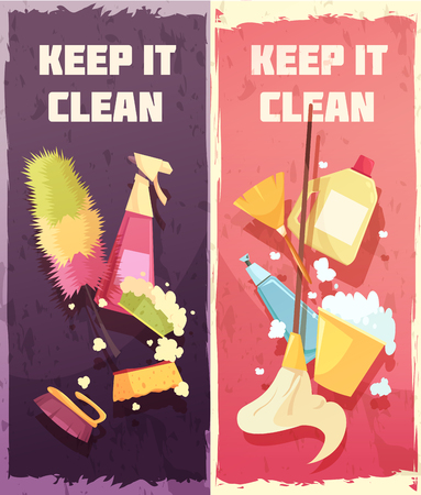 Cleaning vertical banners with tools and accessories for washing floor windows and domestic items vector illustration