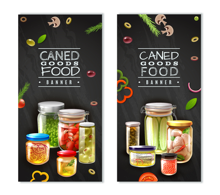 Vertical banners with canned food in glass jars on black background with sliced vegetables isolated vector illustration