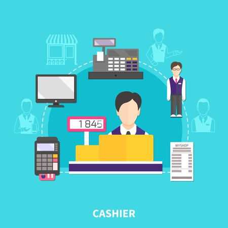 Salesman composition of flat icons and silhouette images with payment terminal receipt and faceless cashier characters vector illustration