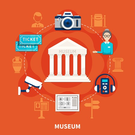 Museum flat icons set on red background with tickets exposition plan photocamera  audio guide ancient exhibits vector illustration