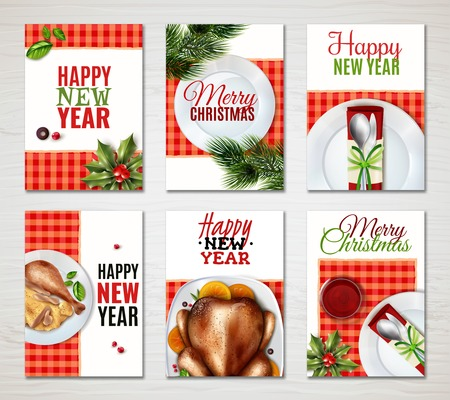 Six colored vertical realistic turkey christmas banner set with happy new year and merry Christmas descriptions vector illustration Vettoriali