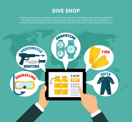 Diving shop composition with buying online scuba equipment, weapons for underwater hunting on turquoise background vector illustration