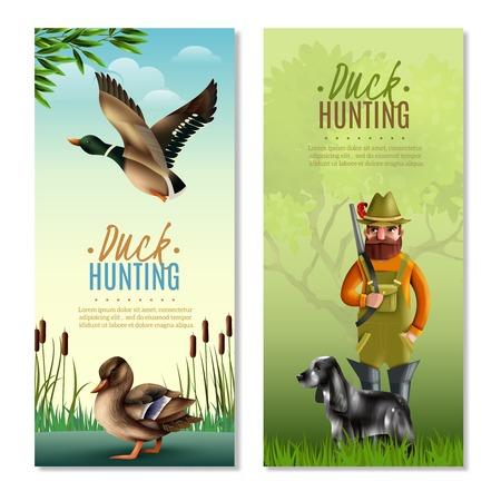鴨猟垂直バナーは散弾銃と犬と人間、鳥、自然の背景に分離ベクトル図