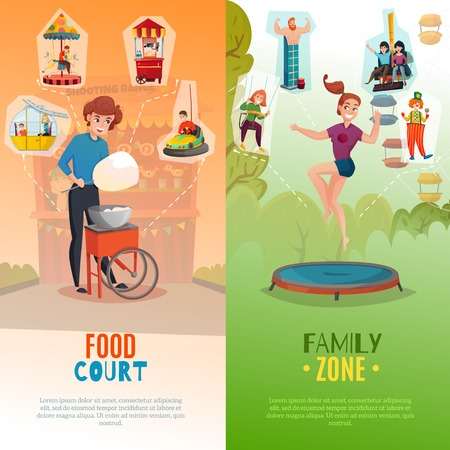 People in amusement park two vertical banners with food court and entertainment  zone flat backgrounds vector Illustration