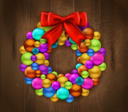 カラフルなクリスマス ボールと赤い弓現実的ベクトル図で作られた花輪で飾られた木製のドアの片を使用してお祭りの背景