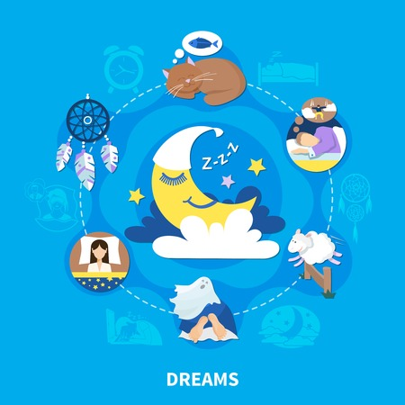 Night dreams flat symbols circle composition with sleeping cat and crescent half moon background poster vector illustration