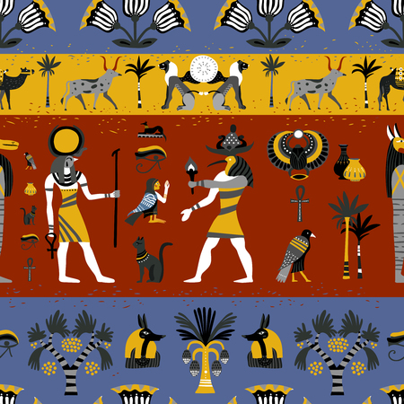 Ancient egyptian religion seamless pattern with gods, hieroglyphic symbols, floral decoration on colorful background vector illustration